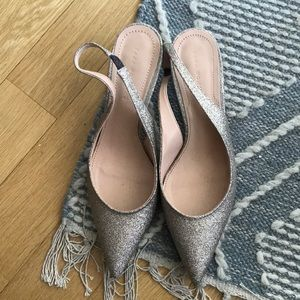 Zara rose gold glitter sling back kitten heels